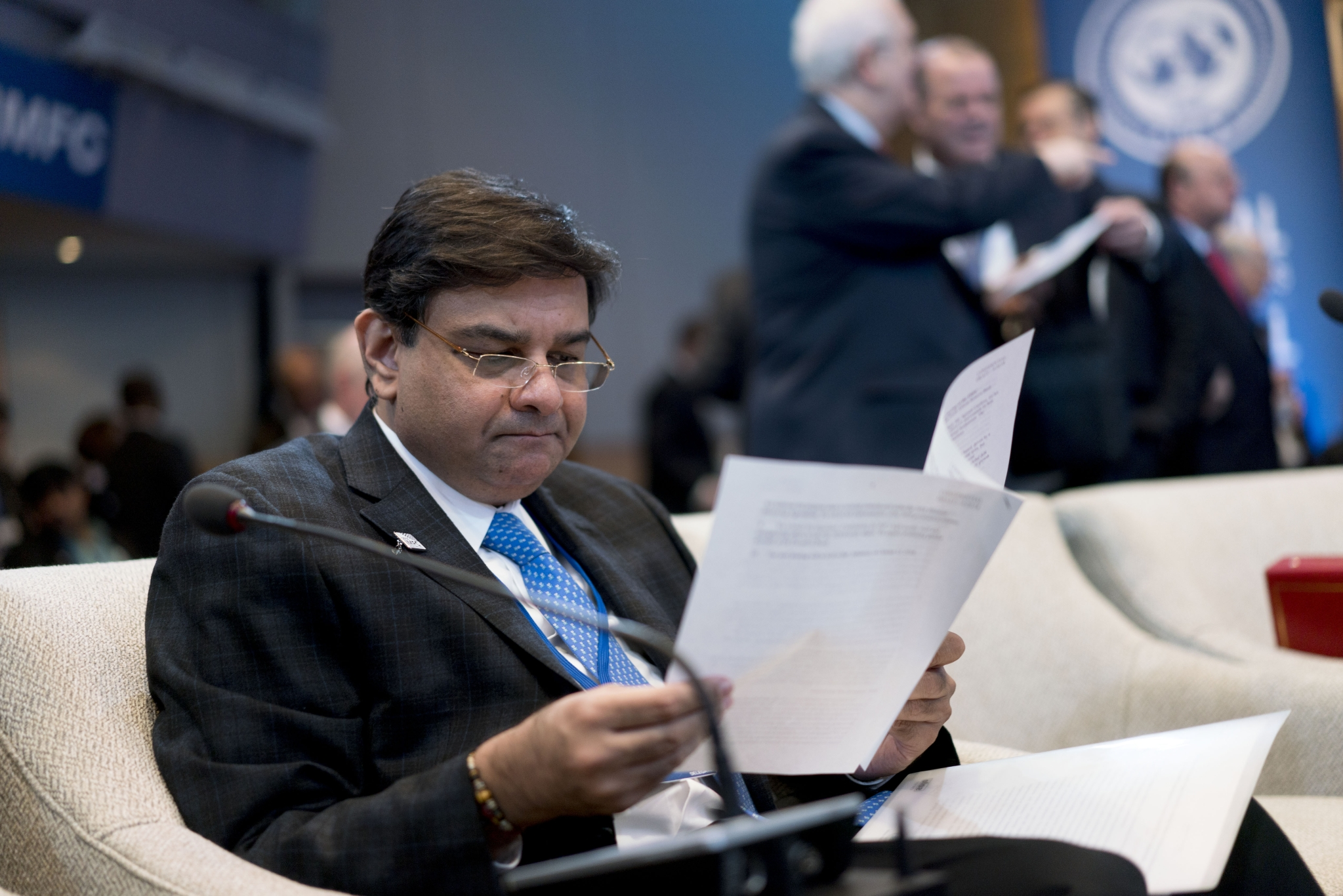 Urjit Patel governor of the Reserve Bank of India at the spring meetings of the International Monetary Fund and World Bank in Washington D.C