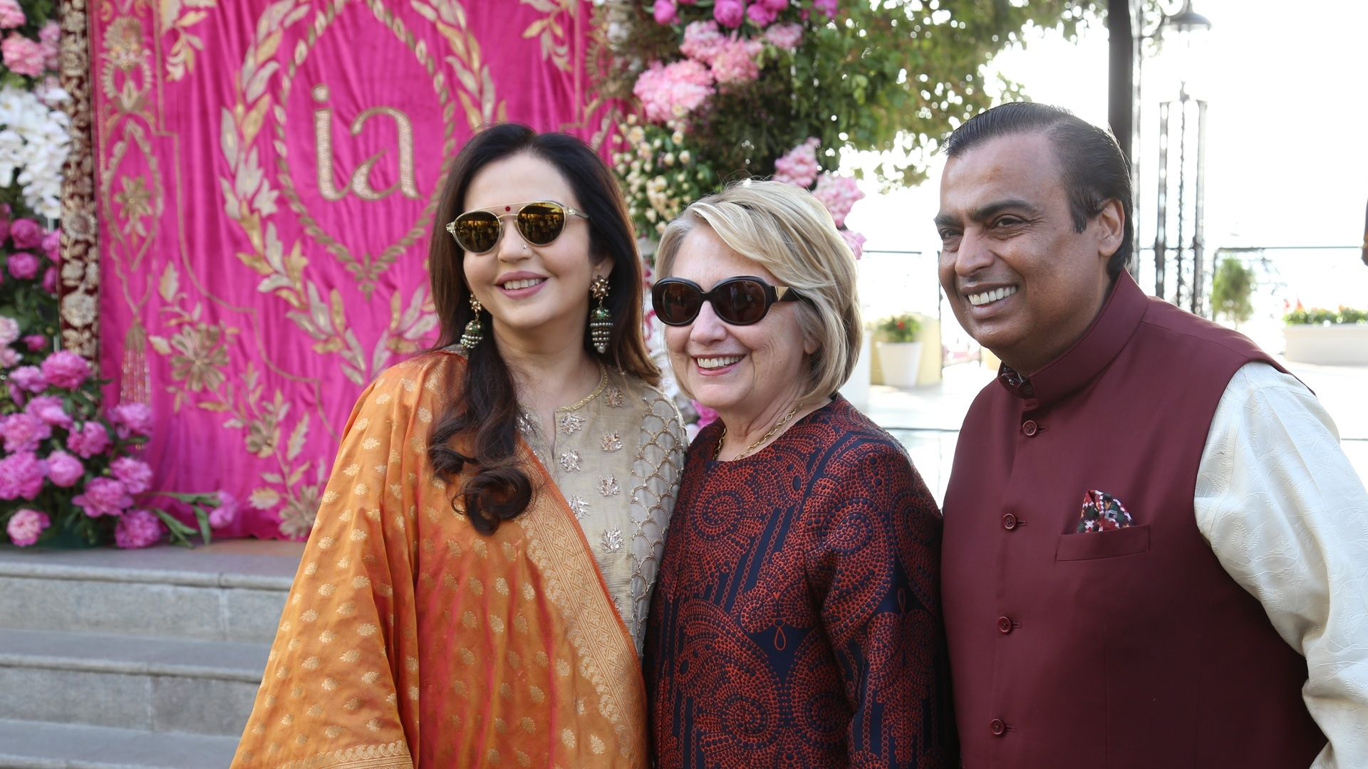Nita Ambani and Mukesh Ambani with Hilary Clinton at the pre-wedding rituals of Isha Ambani and Anand Piramal in Udaipur