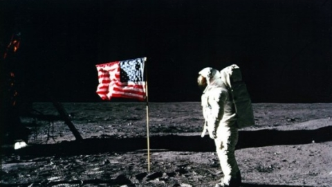 Astronaut Buzz Aldrin salutes the American flag on the Moon during the Apollo 11 space mission