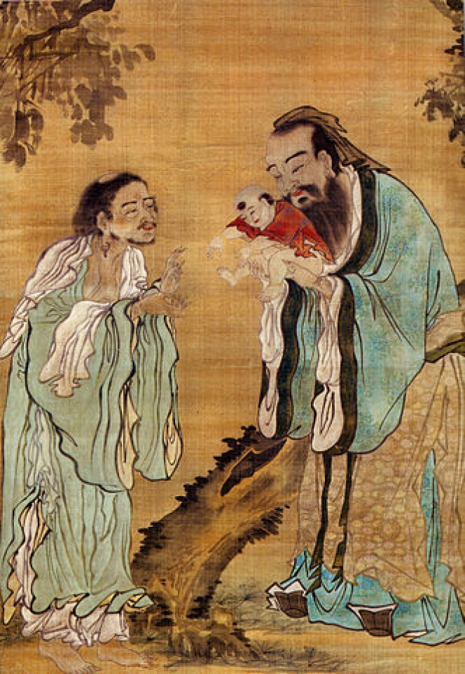 Confucius handing over an infant Buddha to Laozi