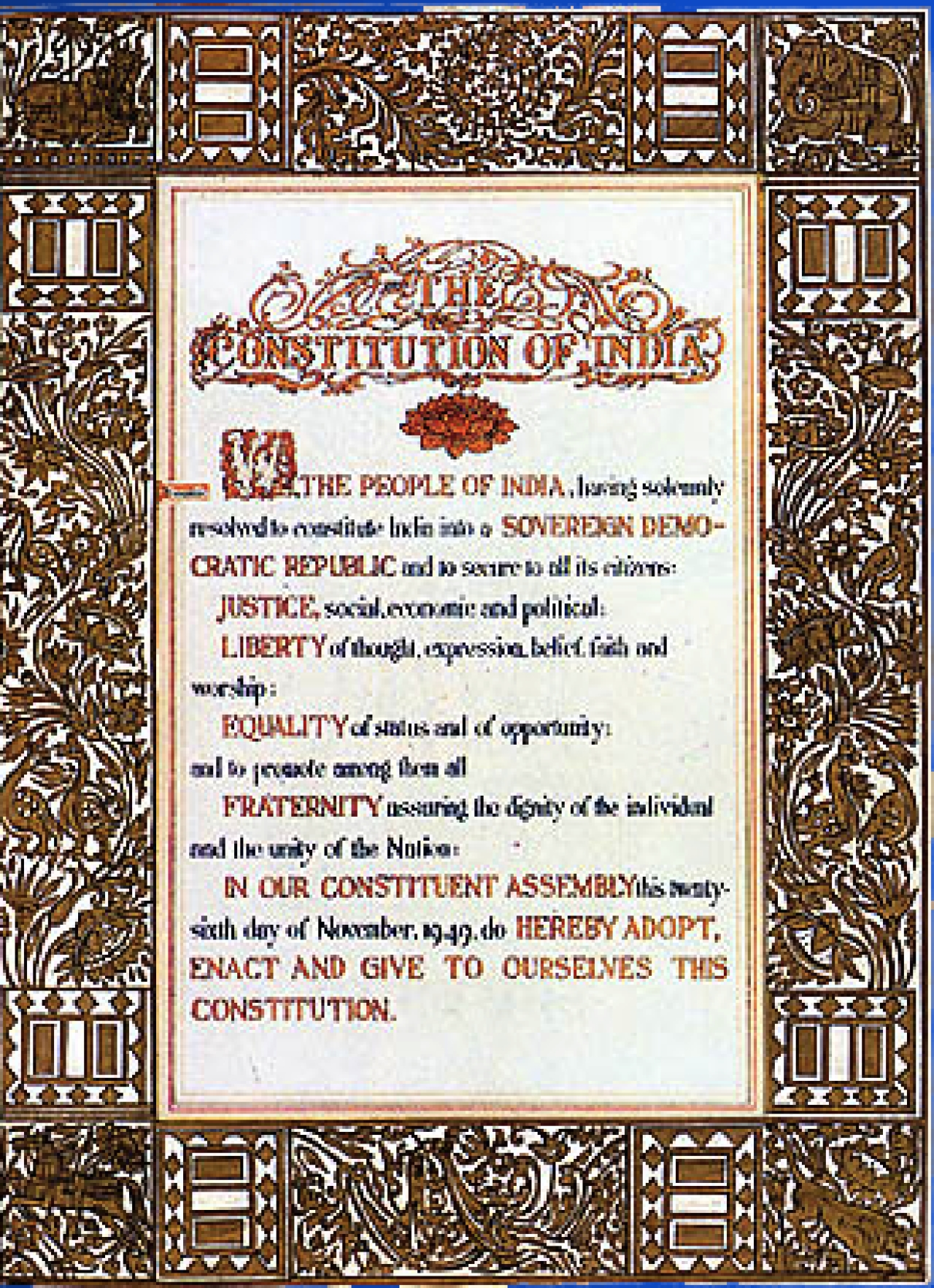 The Preamble to the Indian Constitution