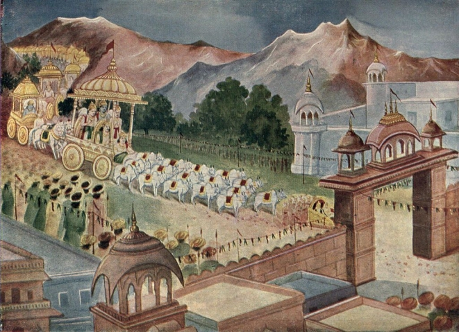 Yudhisthira arrives in Hastinapur to be coronated as king.