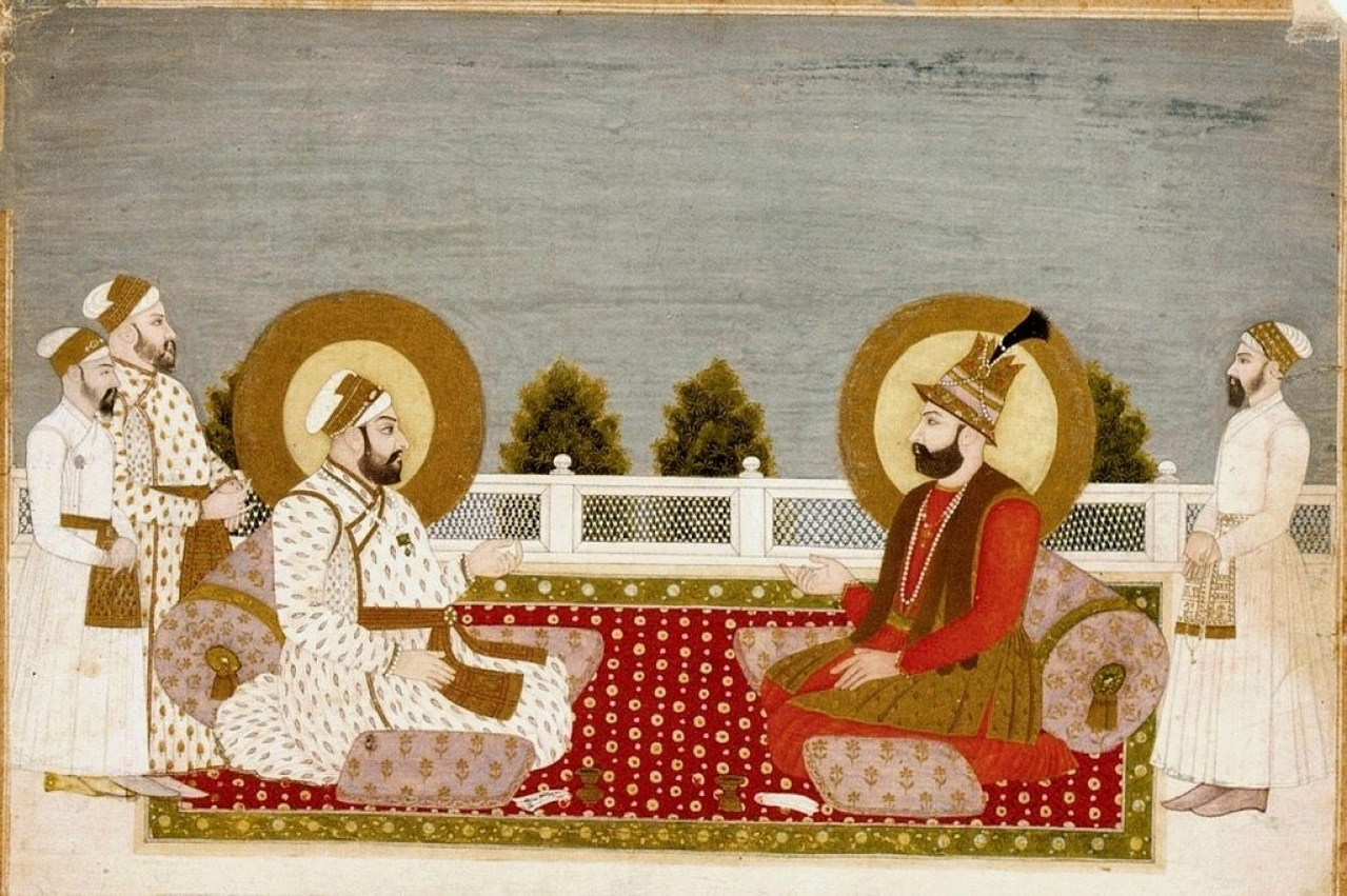 An artist's impression of the meeting between Muhammad Shah (L) and Nadir Shah (R) (Credits: Wikimedia Commons)