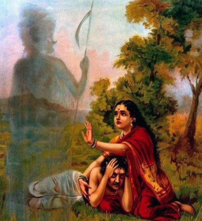 Raja Ravi Verma's depiction of Satyavan and Savitri
