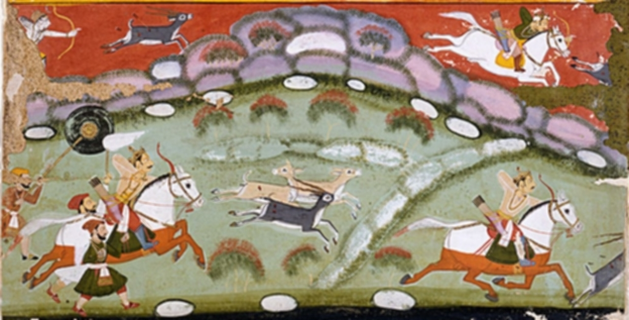 King Parikshit Hunting, Folio from a Ramayana