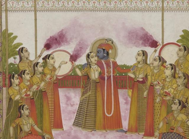 Radha and Krishna playing (Lucknow, Avadh, 19th century)