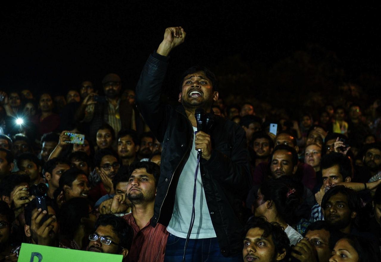 Kanhaiya Kumar in JNU (CHANDAN KHANNA/AFP/Getty Images))
