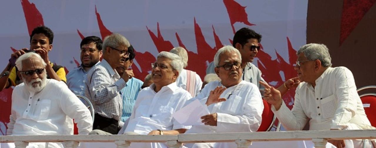 Four CPI(M) stalwarts, from left Budddhadeb Bhattacharya, Prakash Karat, Biman Bose and Sitaram Yechury/Getty Images