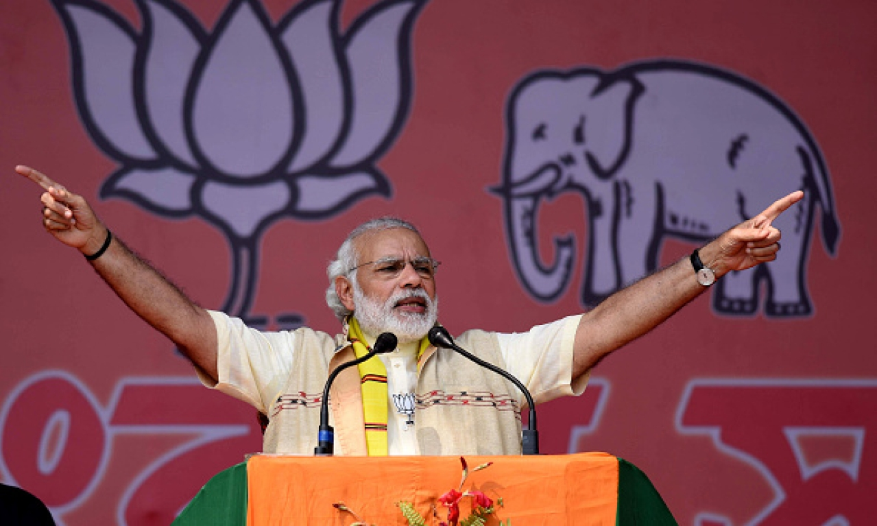 Modi rally in Assam (Ujjal Deb/Hindustan Times via Getty Images)