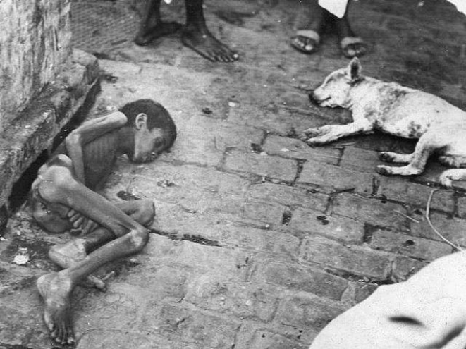 A child who starved to death during the Bengal famine of 1943.