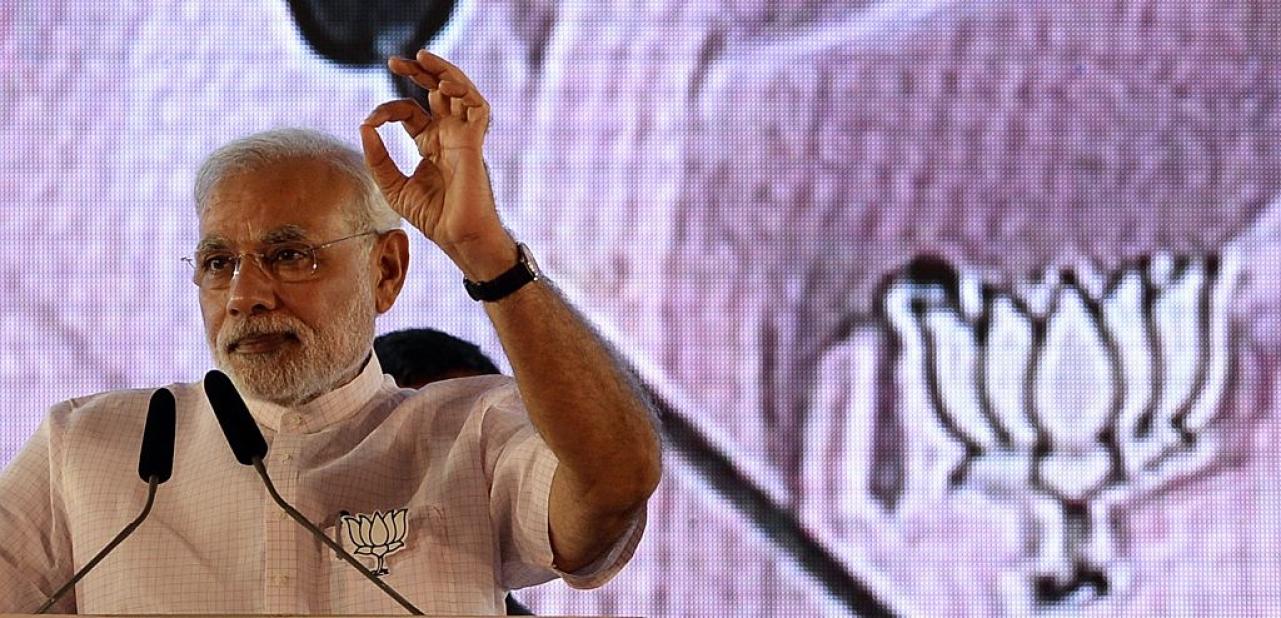 Narendra Modi in a BJP rally