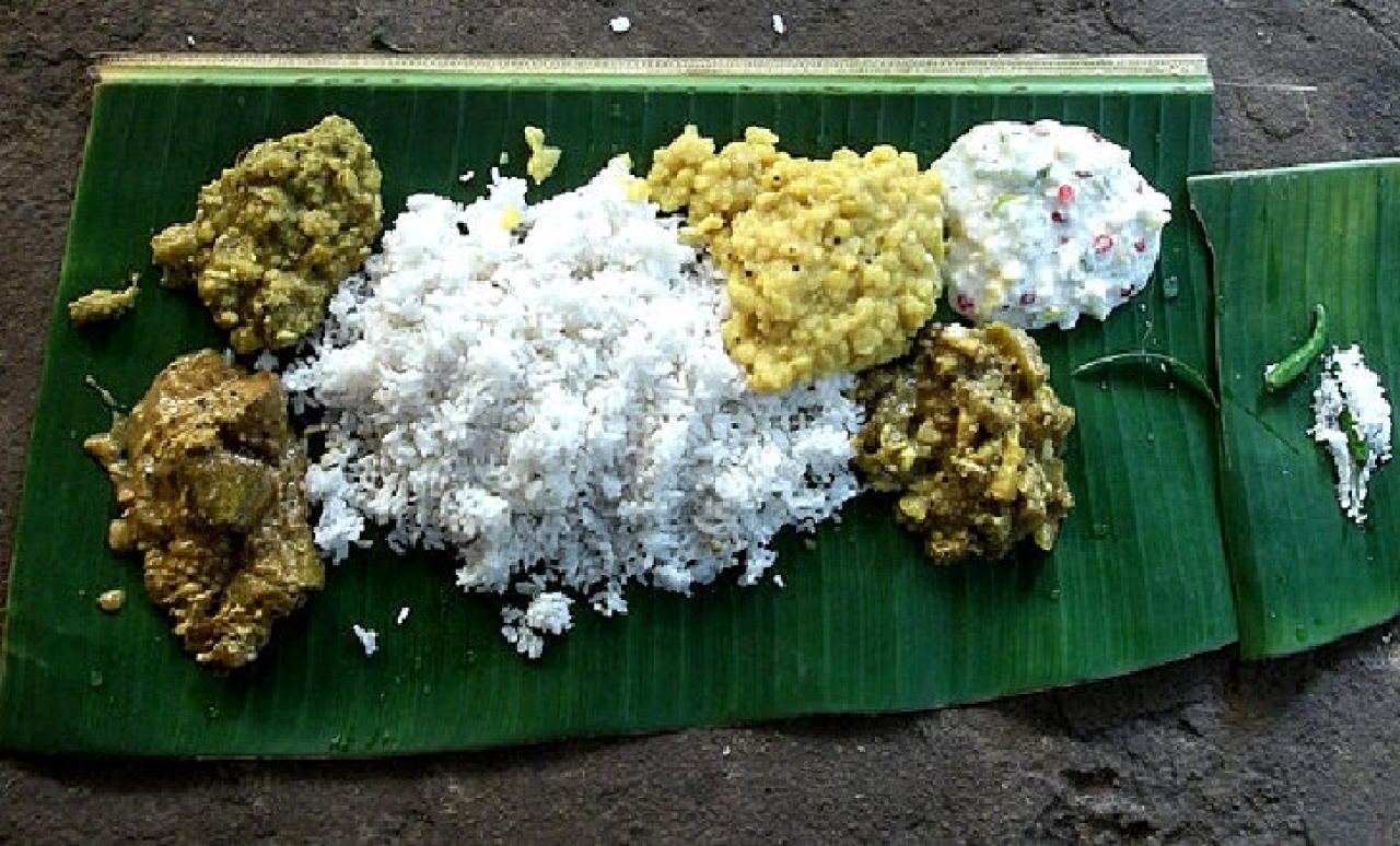 Abadha, the afternoon meal of the Jagannath Temple served on a plantain leaf.