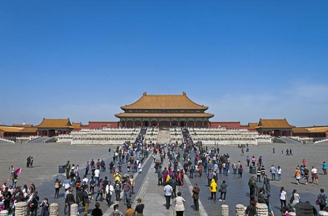 Tourists inside the Forbidden City, Beijing.Wikimedia