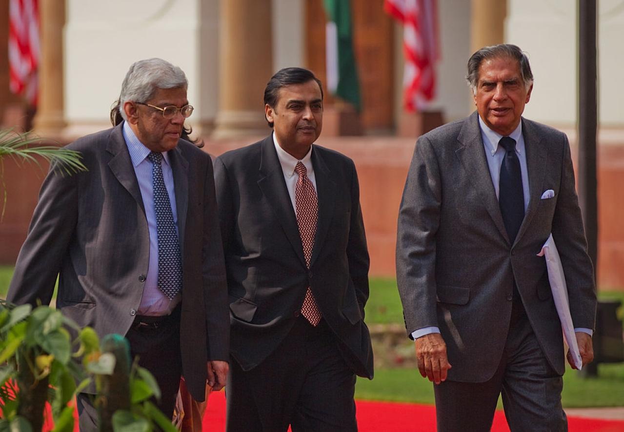 Deepak Parekh (L), Mukesh Ambani (C) and Ratan Tata (R) (Daniel Berehulak/Getty Images)