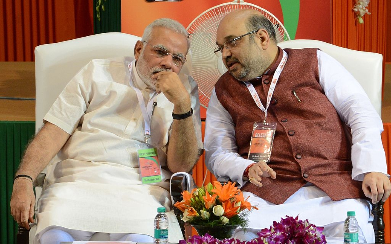 Prime Minister Narendra Modi with BJP president Amit Shah. (Photo credit:  RAVEENDRAN/AFP/Getty Images))