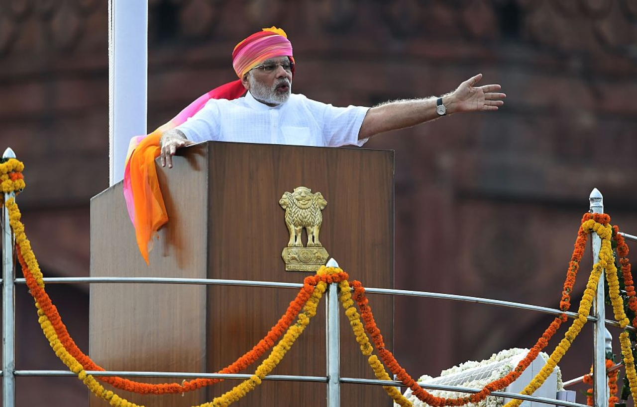 Indian Prime Minister Narendra Modi gestures as he delivers his Independence Day speech from The Red Fort in New Delhi on August 15, 2016. Photo credit: PRAKASH SINGH/AFP/GettyImages