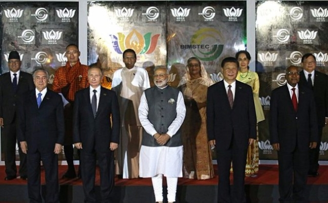 Before the meeting of BRICS leaders with heads of delegations of BIMSTEC member states. (Konstantin Zavrazhin/Kremlin.ru/Wikimedia Commons)