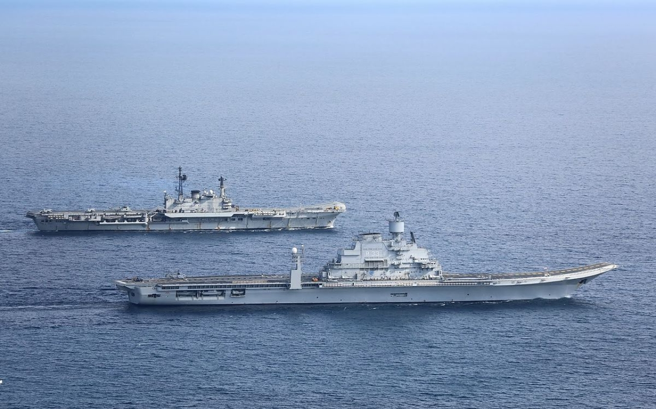 Blueprint to bluewater the indian navys journey from carriers to indian navys aircraft carriers ins viraat and vikramaditya in the arabian sea in january 2014 malvernweather Gallery
