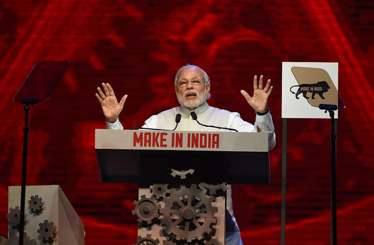 Prime Minister Narendra Modi speaks during part of the opening ceremony of 'Make in India Week' in Mumbai (PUNIT PARANJPE/AFP/Getty Images)