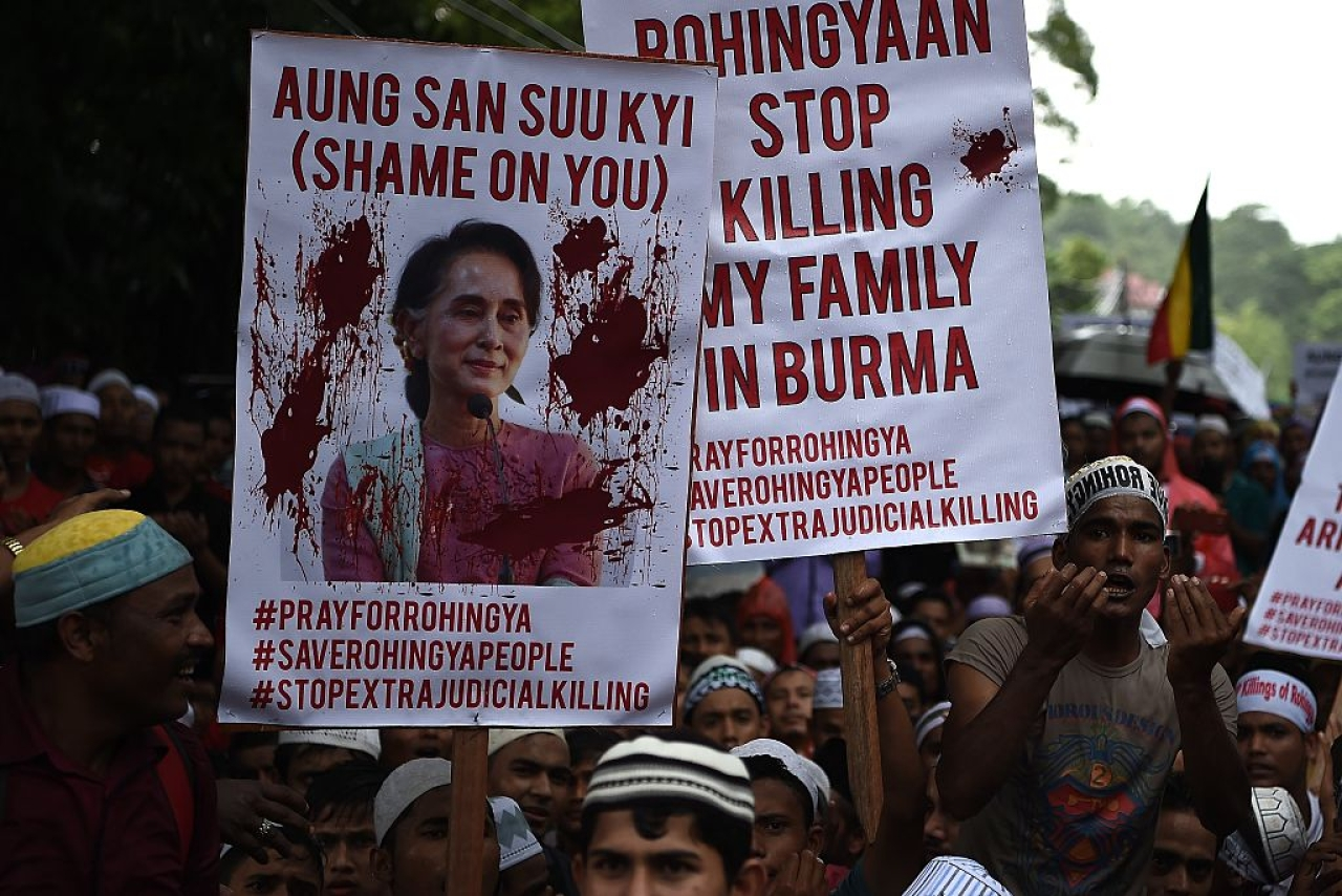 A rally in support of the Rohingyas in Bangladesh. Photo credit: MANAN VATSYAYANA/AFP/Getty Images