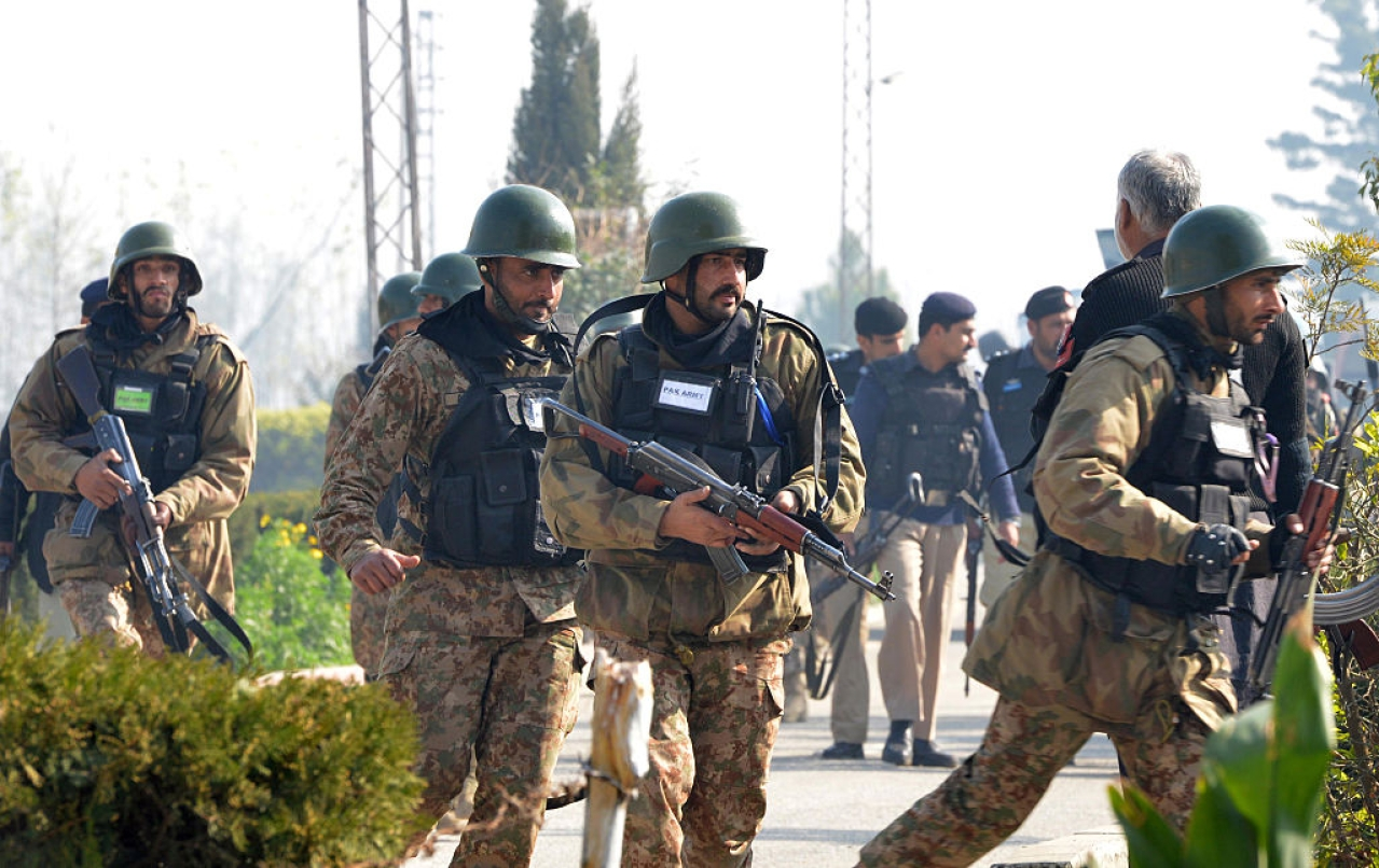 Pakistani army soldiers in a search operation at the Bacha Khan university (A MAJEED/AFP/Getty Images)