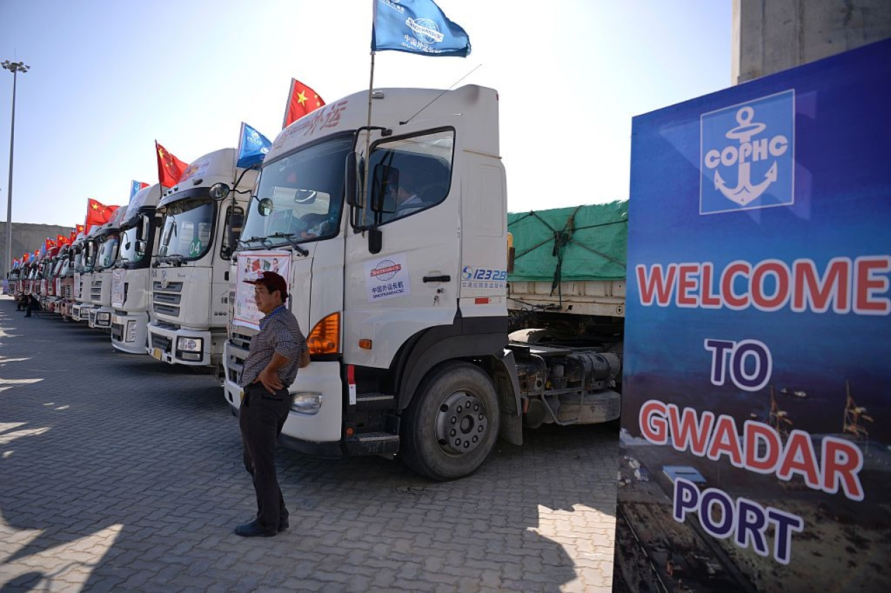 Chinese trucks carrying first trade goods parked at the Gwadar port, some 700km west of Karachi. (AAMIR QURESHI/AFP/Getty Images)