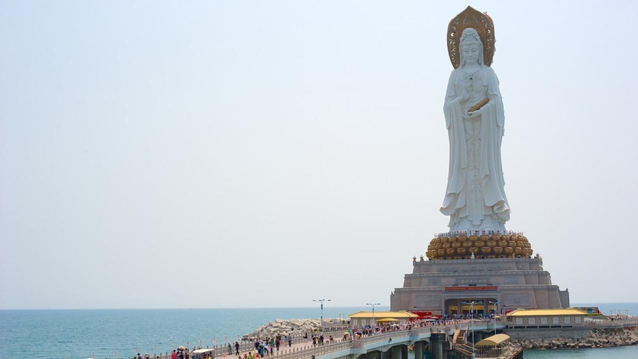 A 108-metre (354 ft) statue of the Bodhisattva Avalokiteshvara in Sanya, China.