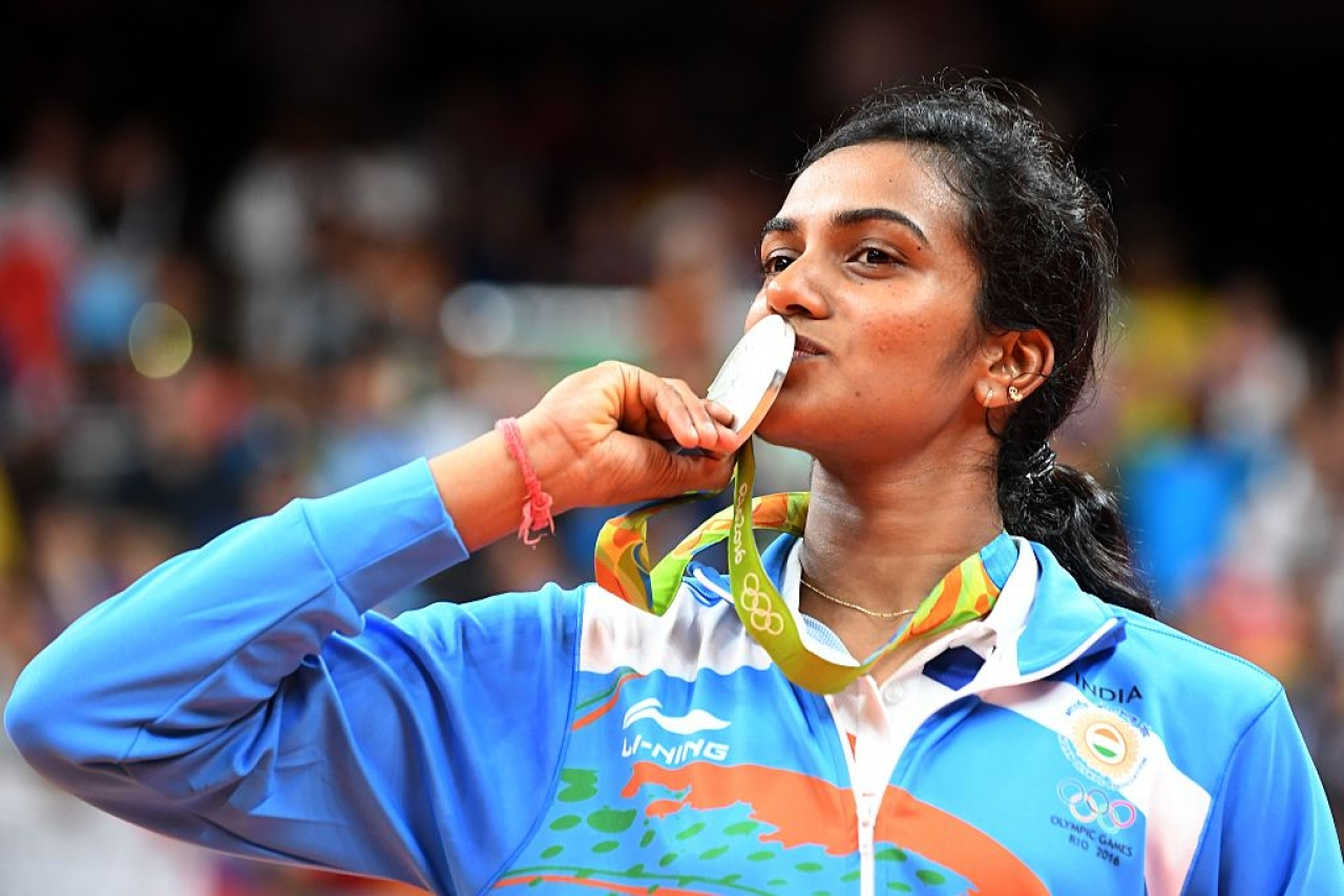 Silver medalist India's Pusarla V Sindhu celebrates following the women's singles Gold Medal badminton match in Rio de Janeiro, 2016 (GOH CHAI HIN/AFP/Getty Images)