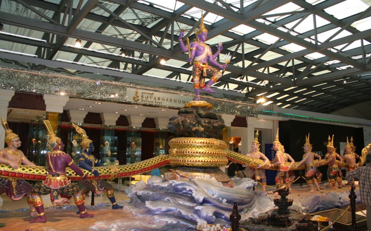 A tableau of the Samudra Manthan, Suvarnabhumi airport, Bangkok, Thailand.