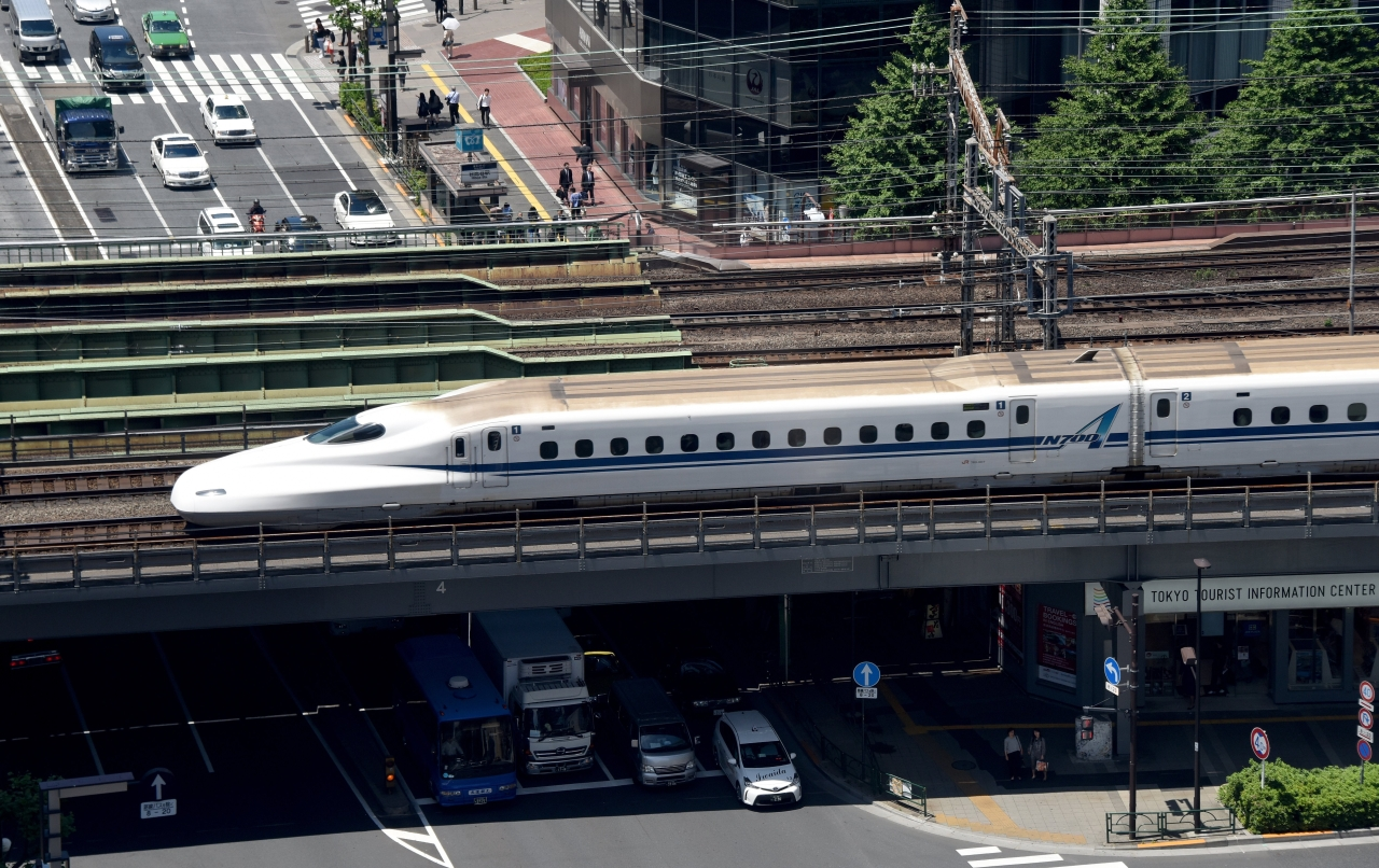 A Shinkansen bullet train goes over a street in Tokyo. (Photo credit: TORU YAMANAKA/AFP/Getty Images)