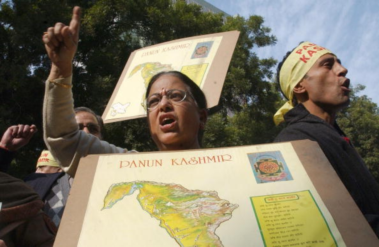 A Kashmiri Pandit woman shouts slogans demanding a separate state of 'Panun Kashmir' at a protest rally in New Delhi, 2006. (MANPREET ROMANA/AFP/Getty Images)