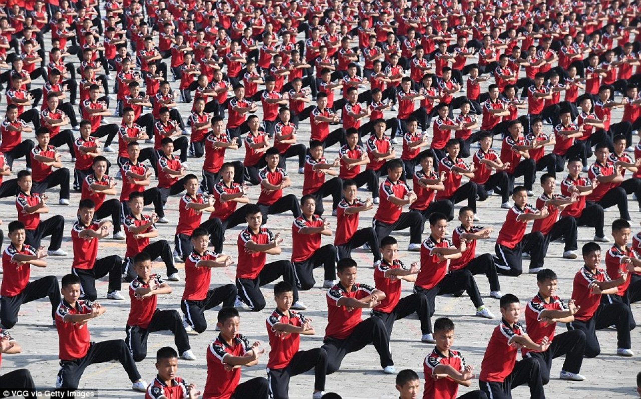 30,000 Kung Fu students perform at the Shaolin temple in China's Henan province.