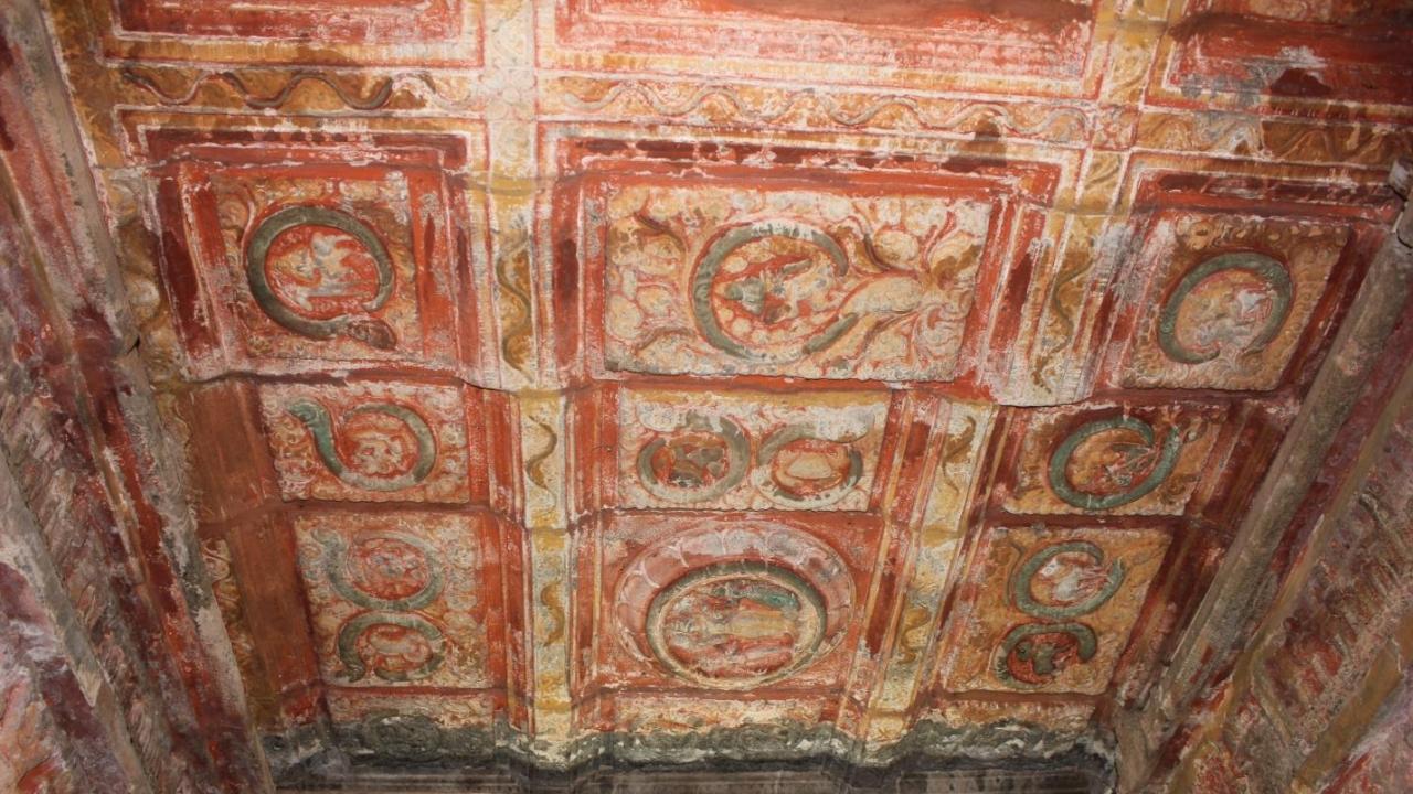 The twelve Rashis shown on the ceiling of the 12th century Airavatesvara temple in Darasuram, Tamil Nadu.