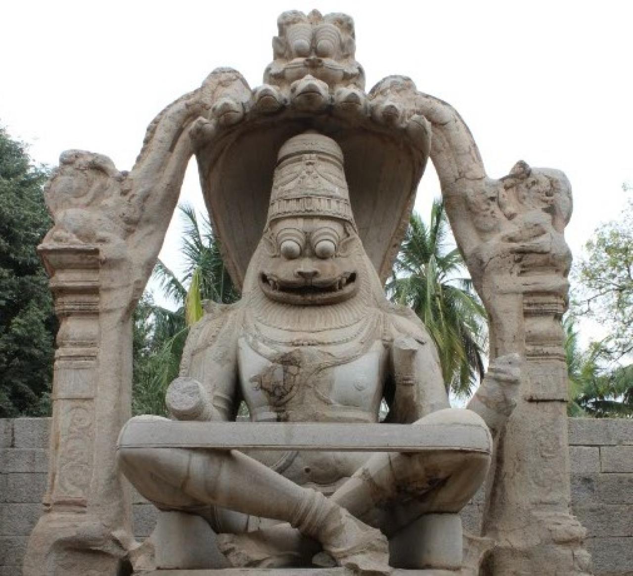 The monolith Narasimha at Hampi