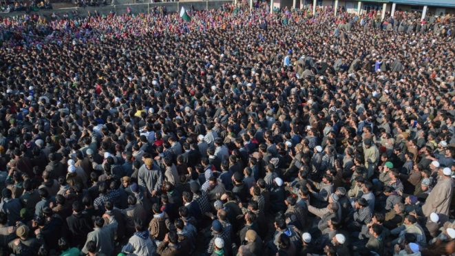 Kashmiri Muslims attend the funeral of two slain terrorists, February 12, 2017. (/AFP/Getty Images)