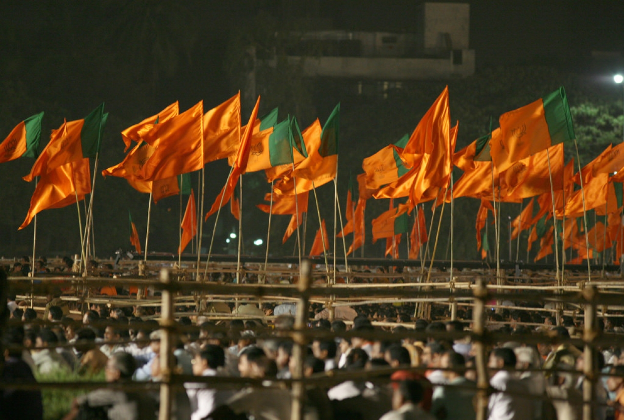 Sea of saffron flags.