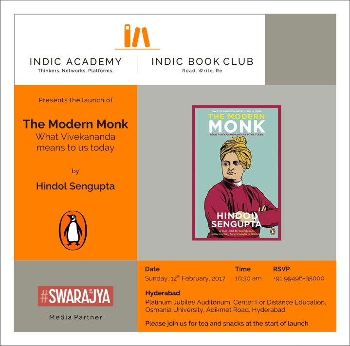 Indic Academy Hyderabad Event: Book Launch Of Hindol Sengupta's The Modern Monk