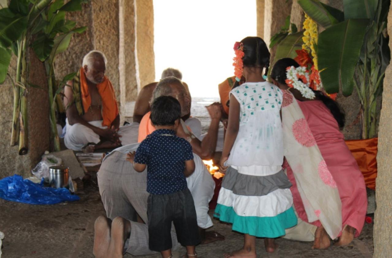 At the Purandaradasa mandapa.