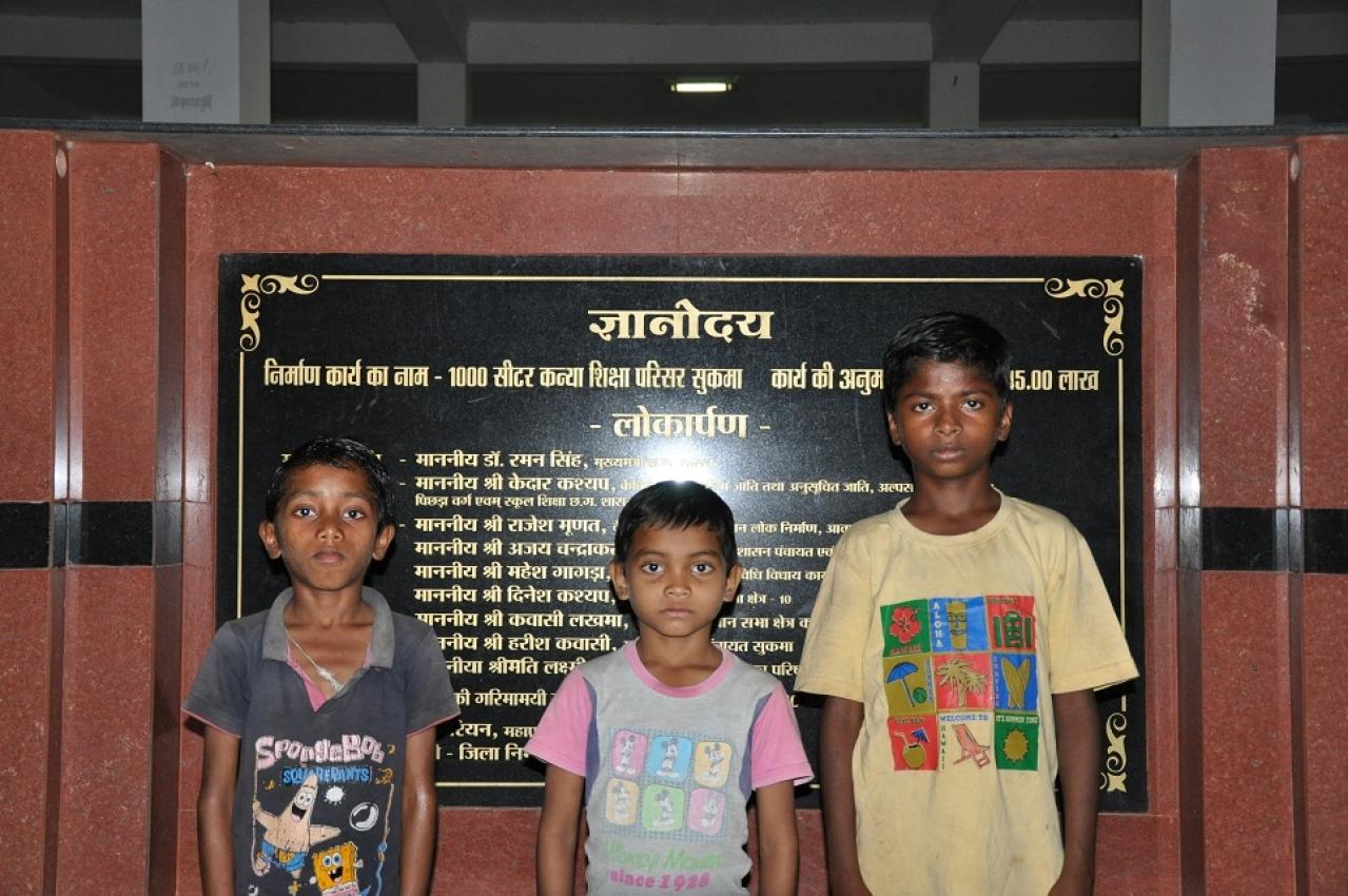(from left to right): Sariam Vicky, Rahul Podiami and Ramesh Sori at Gyanodaya Vidyalaya in Sukma