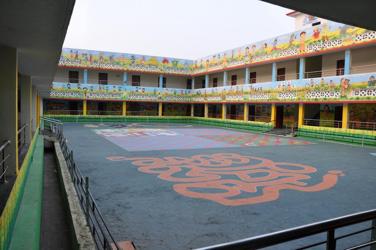 View of the courtyard at Gyanodaya Vidyalaya, Sukma