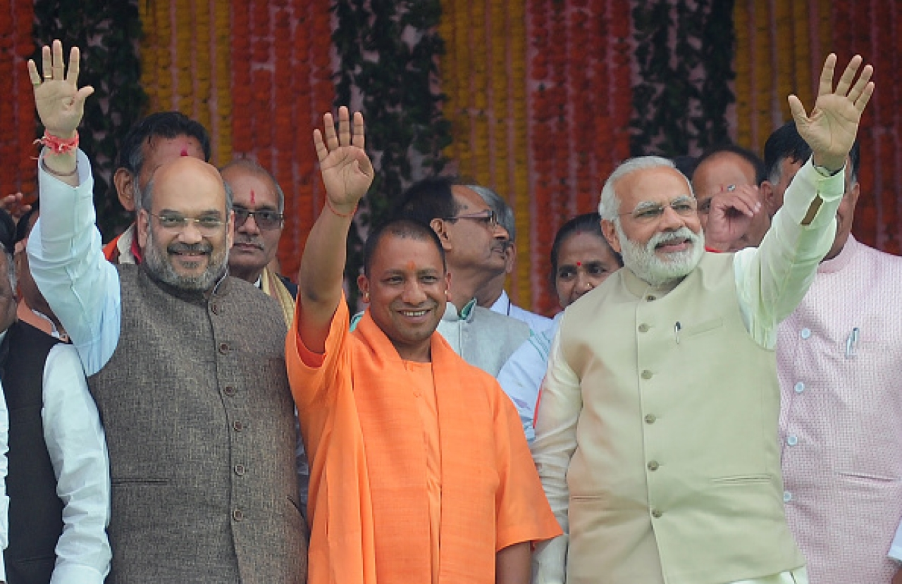 Narendra Modi, Yogi Adityanath and Amit Shah (SANJAY KANOJIA/AFP/Getty Images)