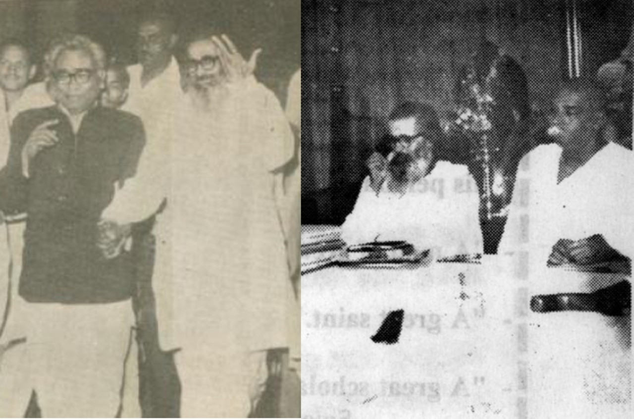 [Left]: 'Guruji' Golwalkar with Ram Manohar Lohia: Photo courtesy Tapan Gosh. [Right] 'Guruji' Golwalkar with Sant   Tukdoji Maharaj during the founding of the VHP