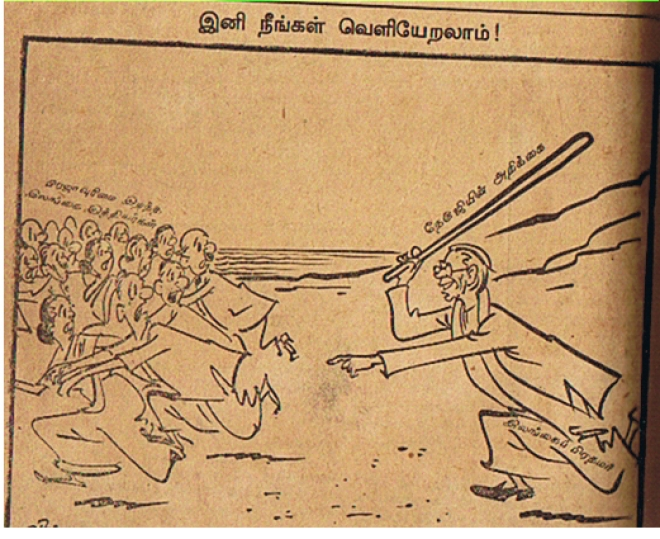 A cartoon in the popular Tamil magazine Kalki in the 1950s; Sri Lankan prime minister uses Nehru's statement as a stick to beat the Tamils who became stateless.