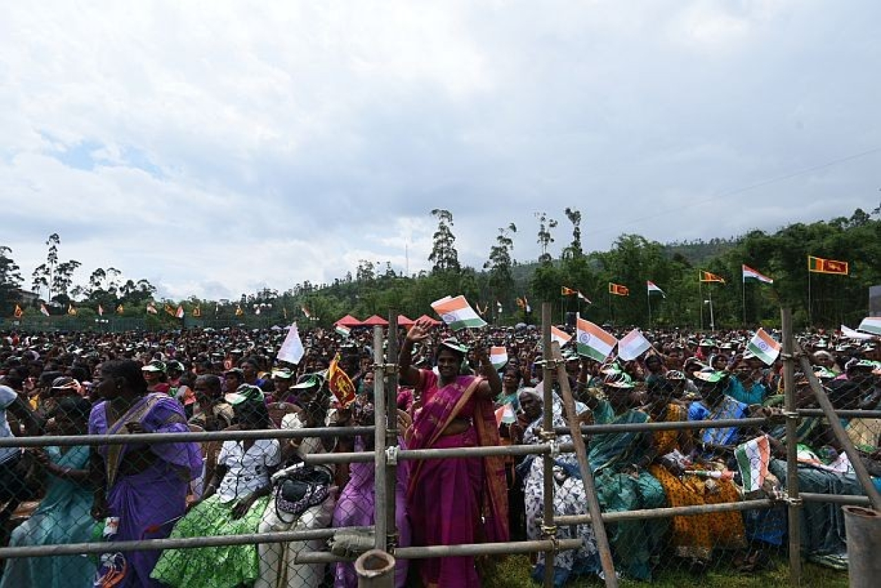 People gathered in large numbers to listen to Prime Minister Narendra Modi's address in Sri Lanka.