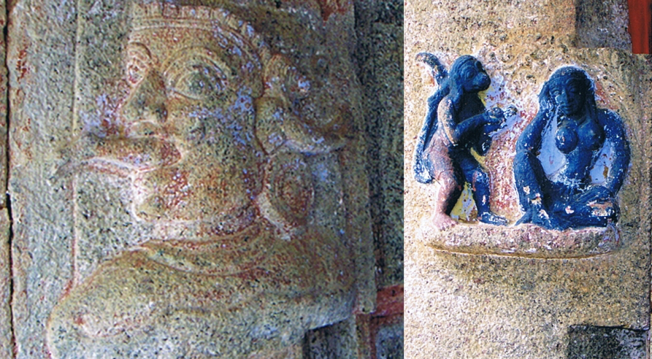 Hanuman is depicted entering the mouth of Surasa, the mother of  serpents, and exiting through her ear!