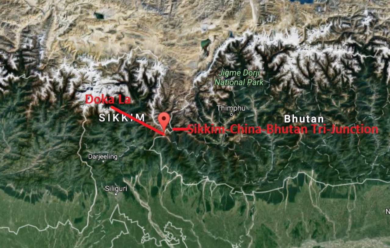 Location of Doka La, the region were Chinese troops reportedly entered India.