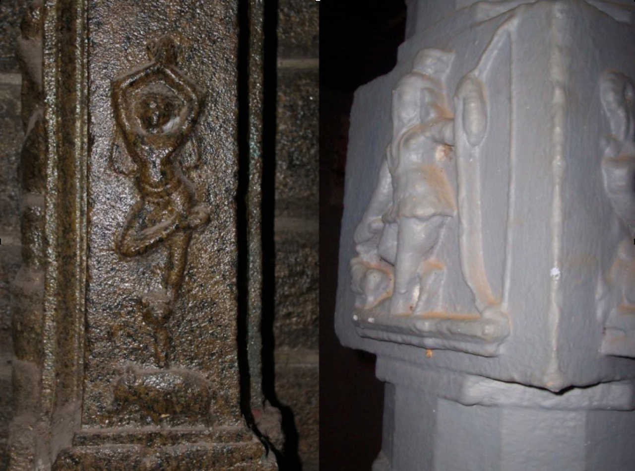 Arjuna doing Tapas standing on one leg, and Shiva as tribal hunter in two different pillar sculptures of Kanyakumari district temples.