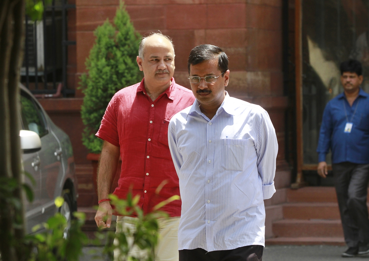 Arvind Kejriwal and Manish Sisodia (Sanjeev Verma/Hindustan Times via Getty Images)