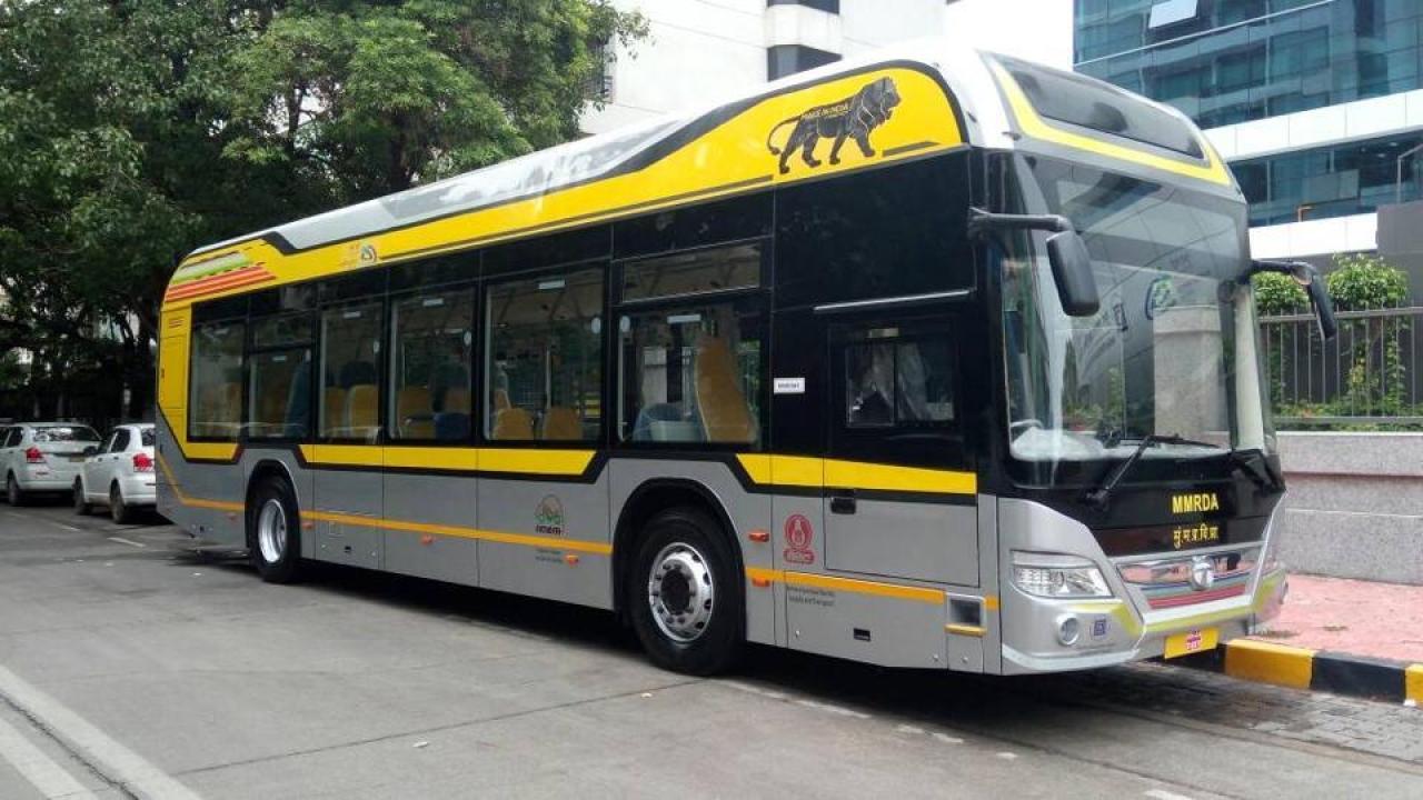 Tata Motors' Electric-Diesel Hybrid Bus operated by BEST in Mumbai (Hindustan Times via Getty Images)