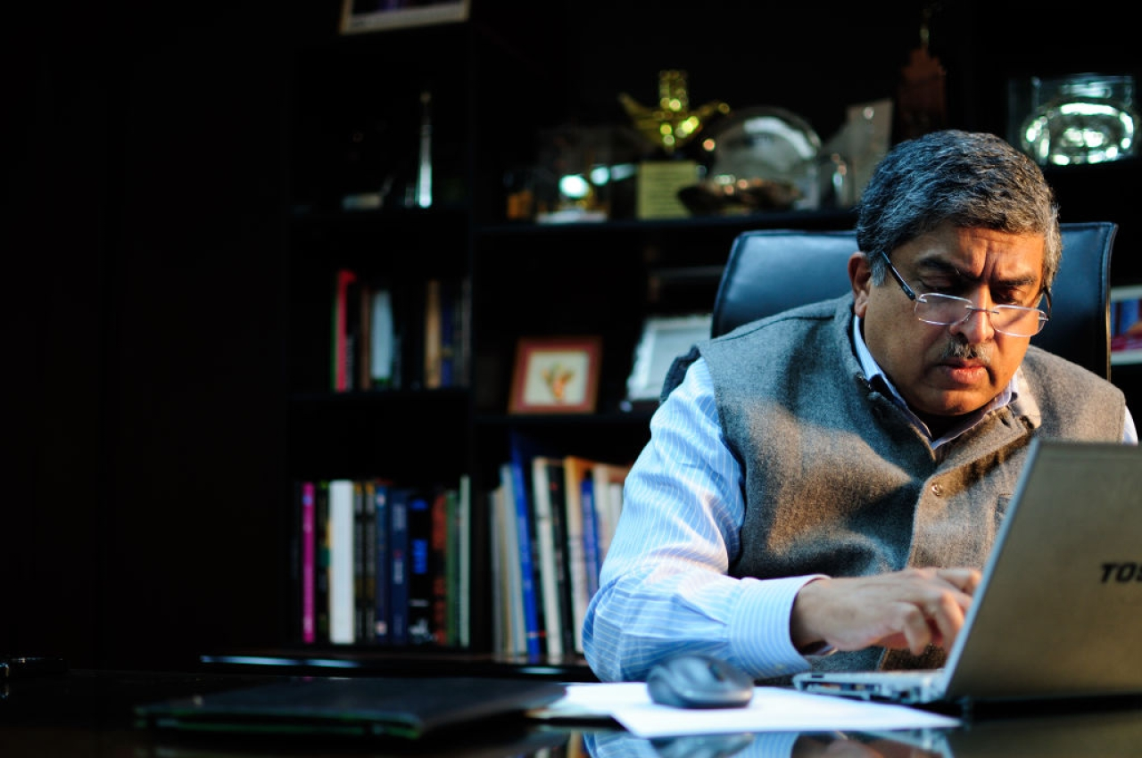 Nandan Nilekani photographed during an interview at his office in New Delhi. (Pradeep Gaur/Mint via Getty Images)